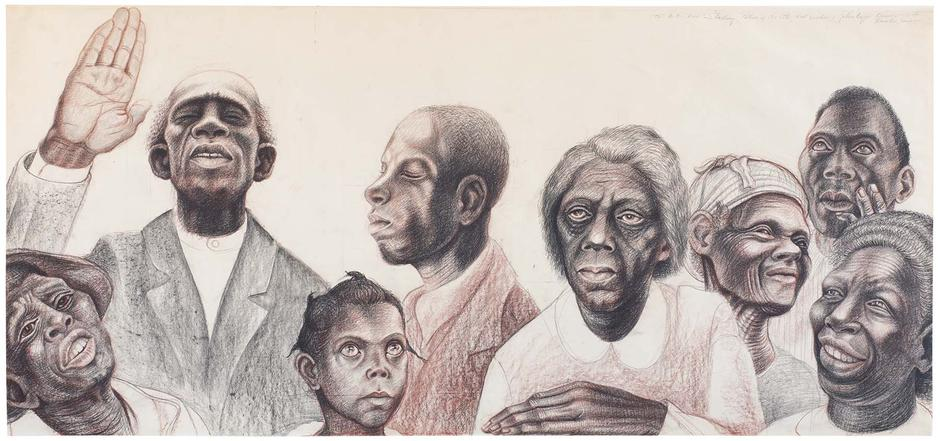 John Biggers (1924-2001) Study for The History of...