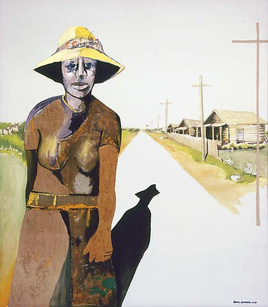 Down the Road, 1971 oil with fabric collage on can...