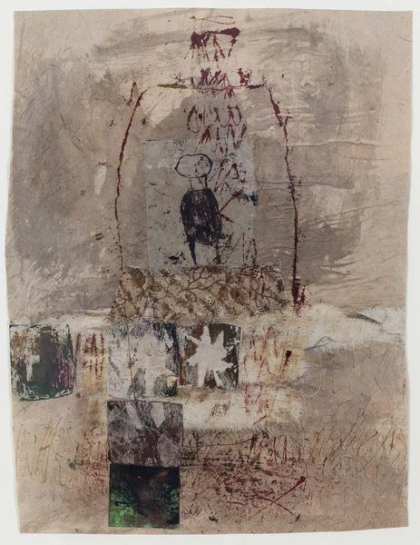 Untitled, 1982 mixed media collage with fabric, pa...