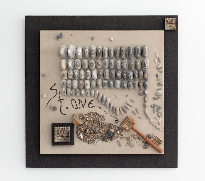 St.oned, 2019 stones, ink, wooden and plastic obje...