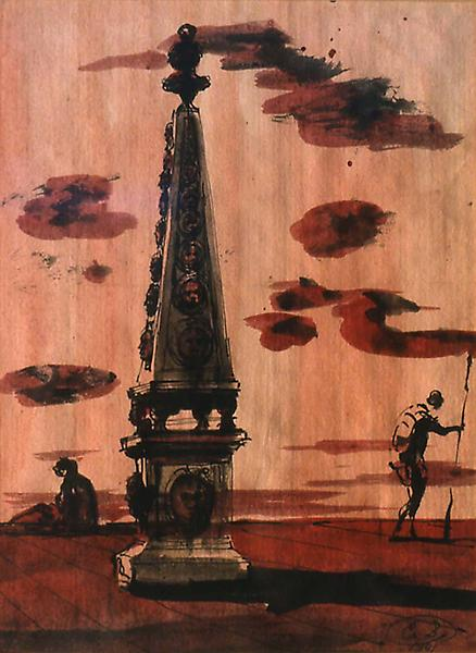 Monument and Figures, 1941 watercolor, gouache, pe...