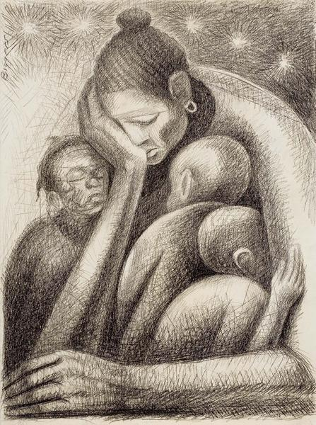 Cradle (Mother and Three Children), c.1970 graphit...