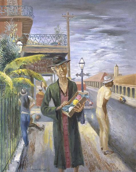 Flower Seller, New Orleans, 1935 oil and tempera o...