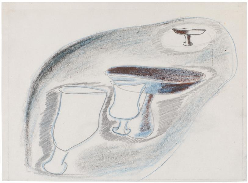 Study for Chalices, c.1939 graphite and crayon on...