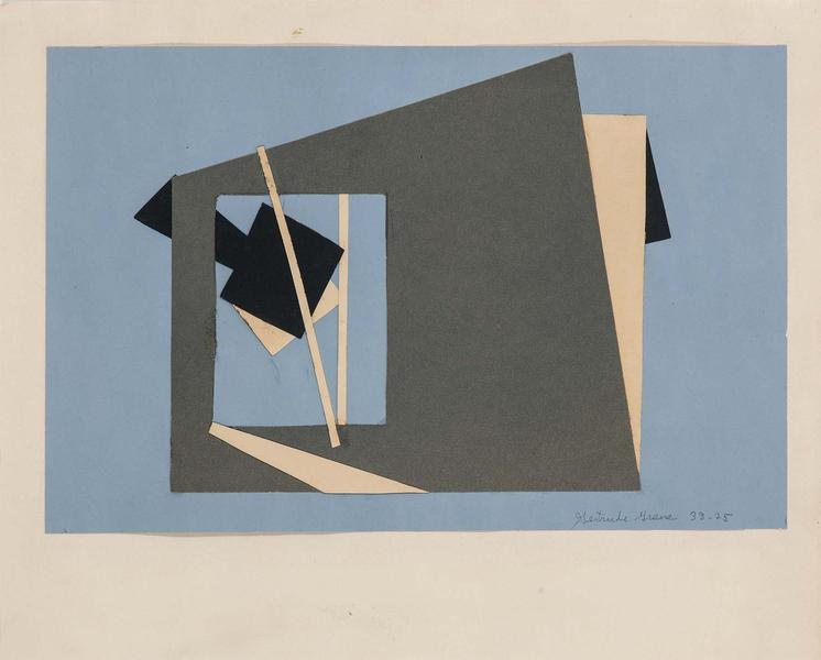 "38-25, 1938 cut paper collage on paper 11"" x..."
