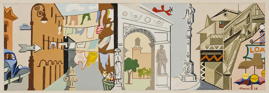 "Up and Downtown, 1938 gouache on paper 8 1/8""..."