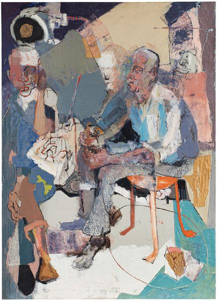 Janitors at Rest, 1957-58 oil on canvas with paper...