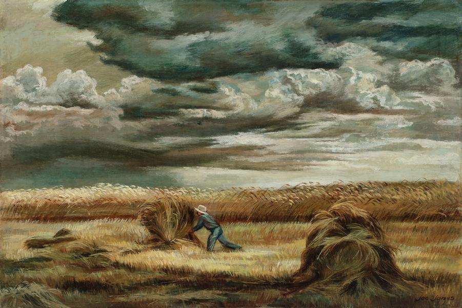 "Stacking Wheat, c.1935 oil on canvas 24"" x 36..."
