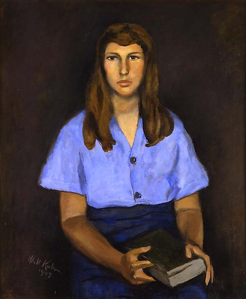 "Woman with Book, 1947 oil on canvas 30"" x 25..."
