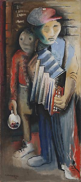 Musicians, 1943 oil on canvas 40 1/4 x 18 inches s...