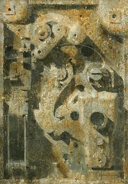 Car Lock, c.1962 oil on canvas on Masonite with st...