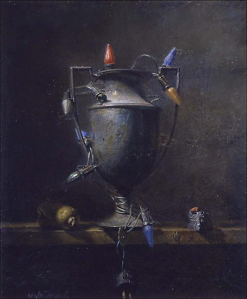 "Urn (and Lights), 1945 oil on Masonite 24 3/4""..."