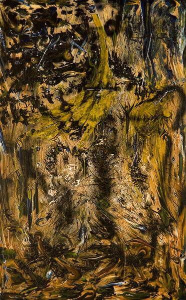 "Fluxus, 1956 oil and enamel on canvas 82 1/2""..."