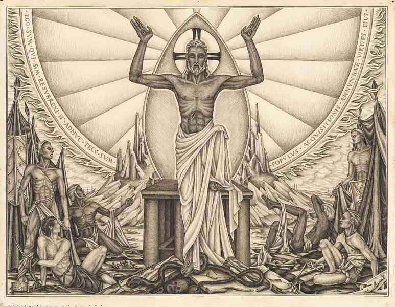 "Resurrection, 1940 black ink on paper 17 7/8""..."