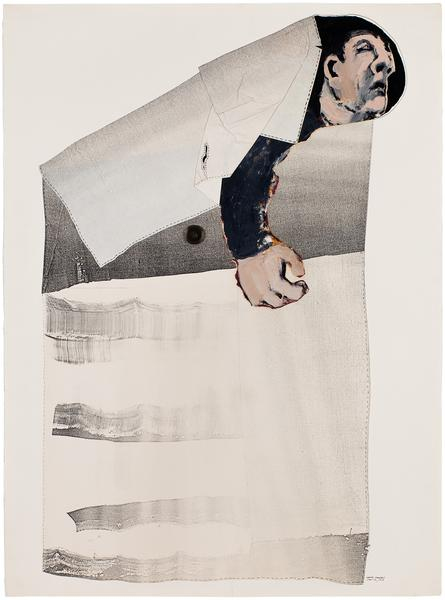 Pocketed, 1975 oil on paper with Xerox and mixed m...