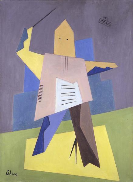 "Untitled (Conductor), c.1934 oil on canvas 30""..."