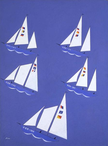 Untitled (Sailboats), c.1946 oil on canvasboard 22...