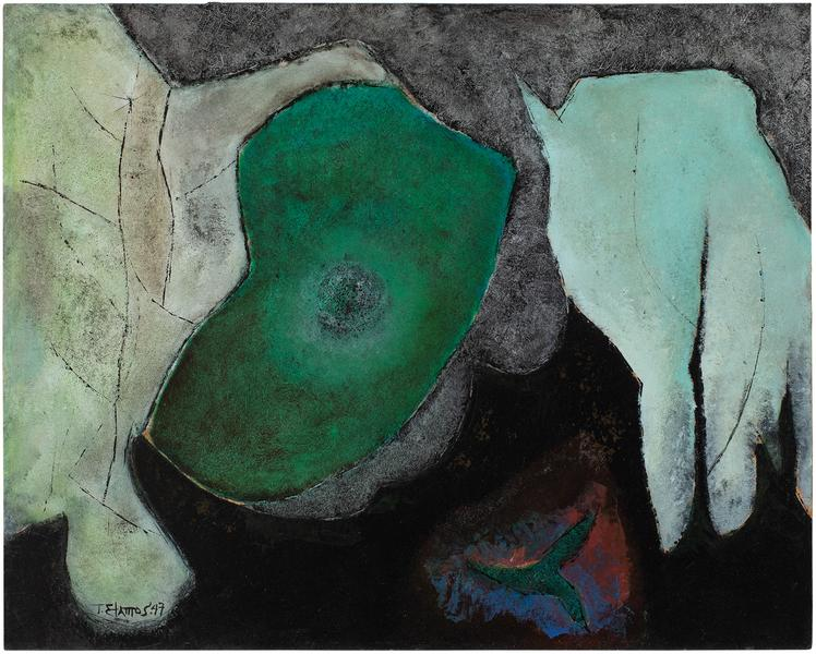 "Ancestral Myth, 1947 oil on Masonite 24 1/8""..."