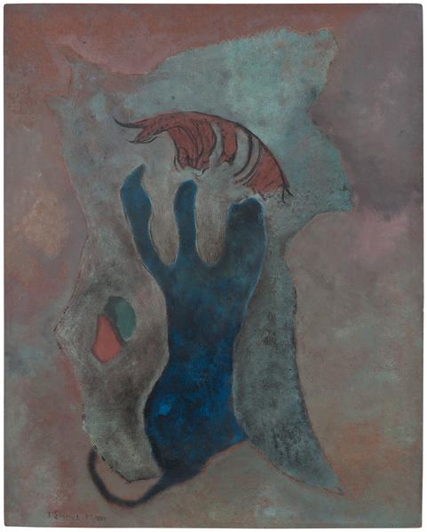 "Petroglyph, 1947 oil on Masonite 30"" x 24&quo..."