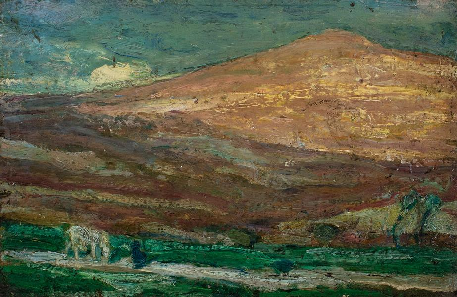 "Hills of Jerusalem, c.1918 oil on board 6 1/2""..."