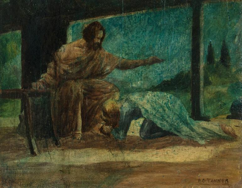 Mary Washing the Feet of Christ, c. 1910 oil on pa...