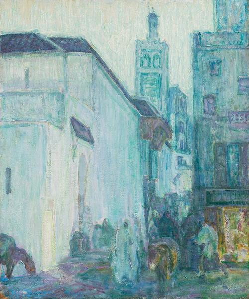 "Street Scene, Tangier, 1912 oil on canvas 26""..."