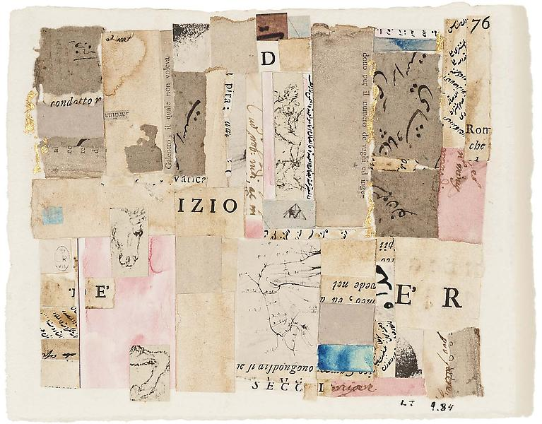 Izio, 1984 collage of various printed and cut pape...