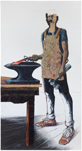 The Blacksmith, 1988 oil and graphite on two joine...