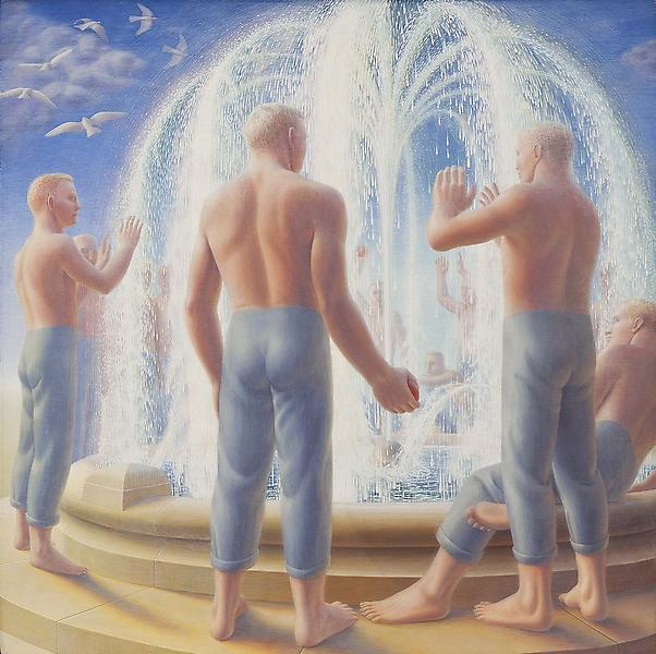Fountain, 1950 egg tempera on gesso panel 24 x 24...